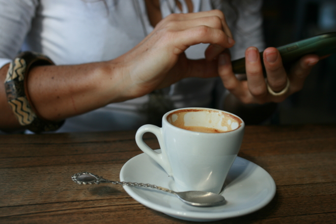 coffee and mobile phone